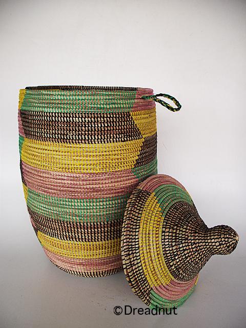 handarbeit grosser korb mit deckel afrika senegal ebay. Black Bedroom Furniture Sets. Home Design Ideas